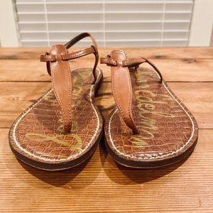 Sam Edelman Gigi Brown Leather Thong Sandals